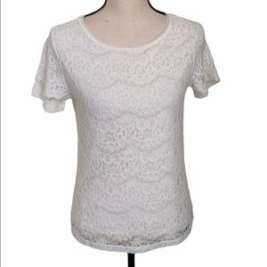 REISS Cream/Ivory Lace Short Sleeve Tee Size XS